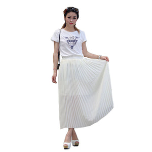 Bohemian Style Beige Maxi Skirt Chiffon Pleated High Waisted Skirt Free Size