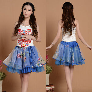 [Elegant Blue] Ethnic Multilayer Short Skirt Bust Skirt Tulle Skirt,Asian M