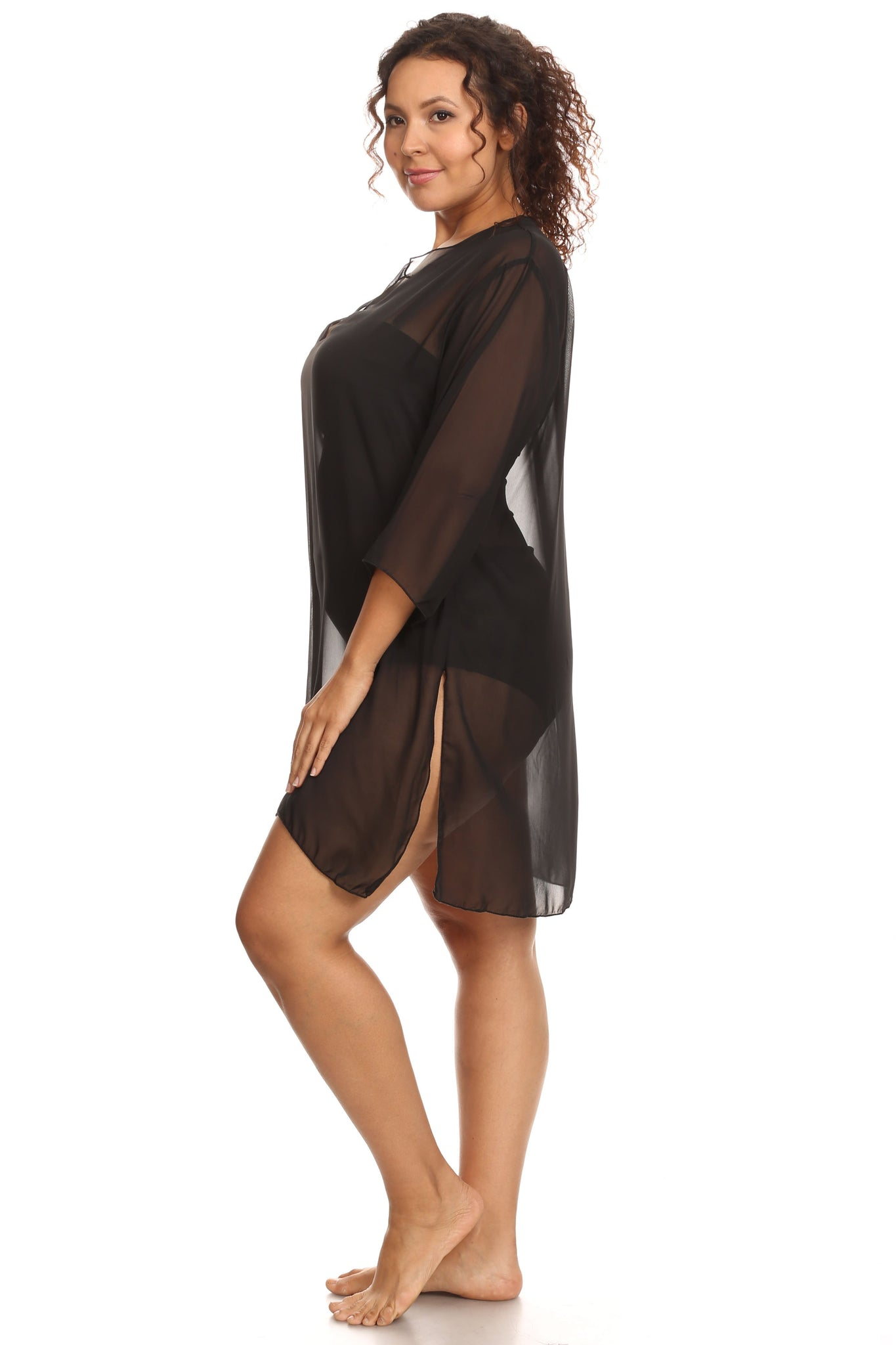 Plus Size Chiffon Long Sleeve Swimwear Cover-up Beach Dress Made in