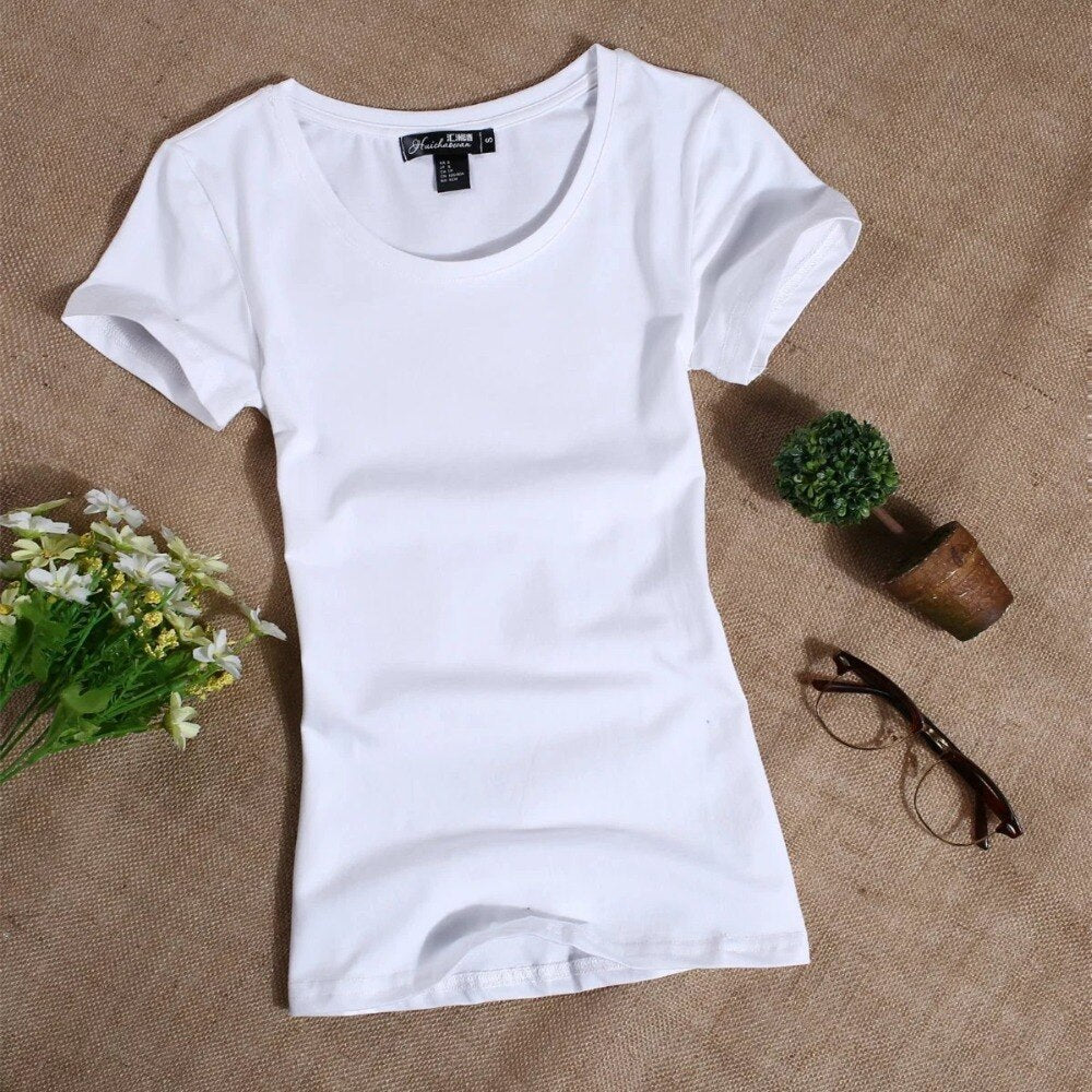 MRMT 2020 Women's T Shirt Women Short Sleeved Slim Solid Color Simple Pure Tee Womens T-Shirt for Female Women T Shirts