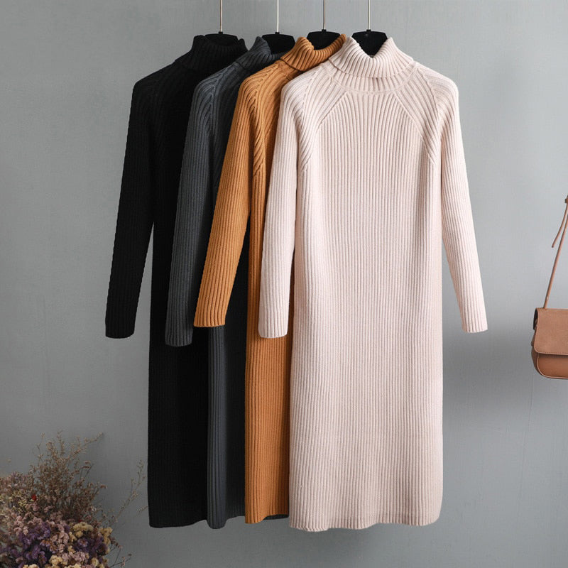 Oversize thick wool turtleneck sweater dress women autumn