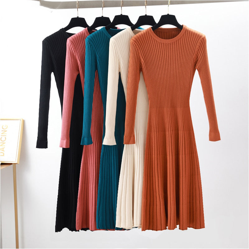 elegant Long sleeve OL O neck long Sweater dress women Thick knit