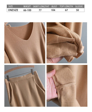 v neck lazy oversize Sweater suit dress women casual loose sweater