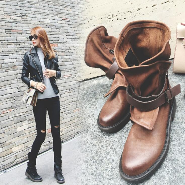 Round toe buckle with square heel boots