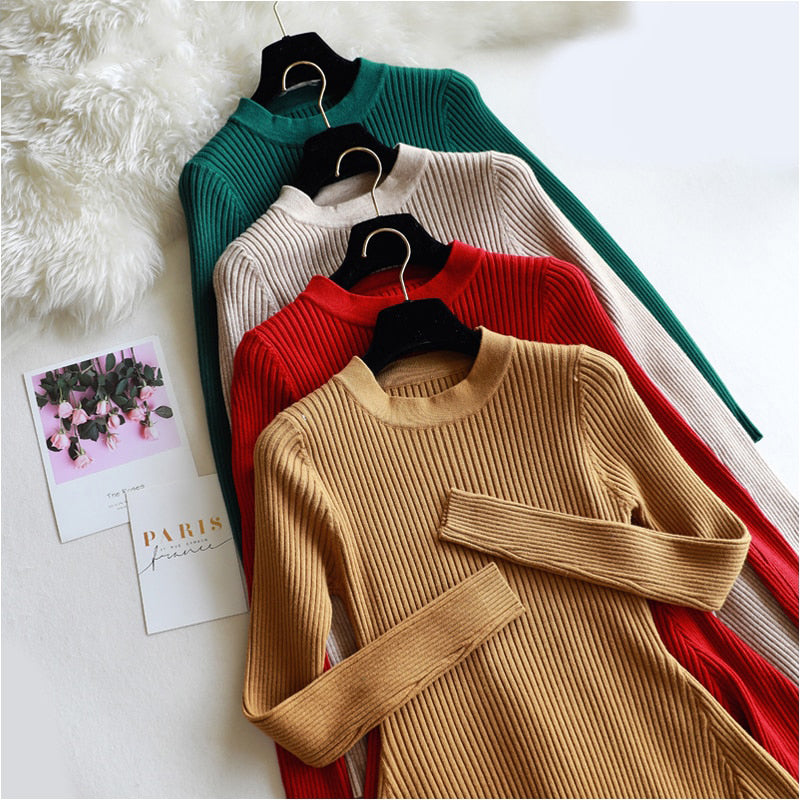 chic Autumn Winter black Sweater Dress Women o neck Long Sleeve A Line