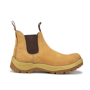Tan 6 inch Safety Toe Slip Resistant Leather Work Boots AK223