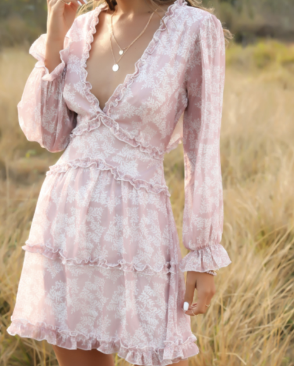Flowy V-Neck Chiffon Ruffle Dress