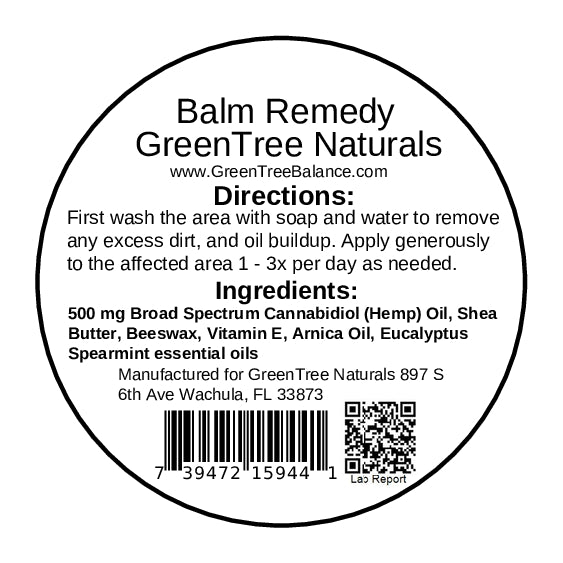 GreenTree Naturals 500 mg Balm Remedy - Eucalyptus Spearmint