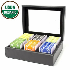 Organic Indian Tea Assortment Chest, 6 Types - 72 Tea Bags