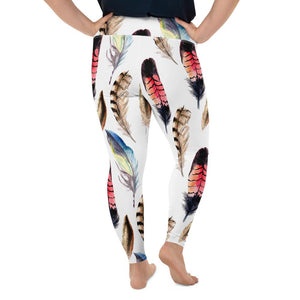Plus Size Boho Feather Leggings