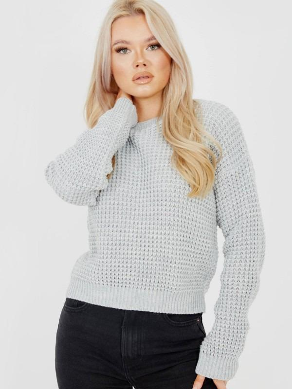 Fisherman Knitted Cropped Jumper-Grey