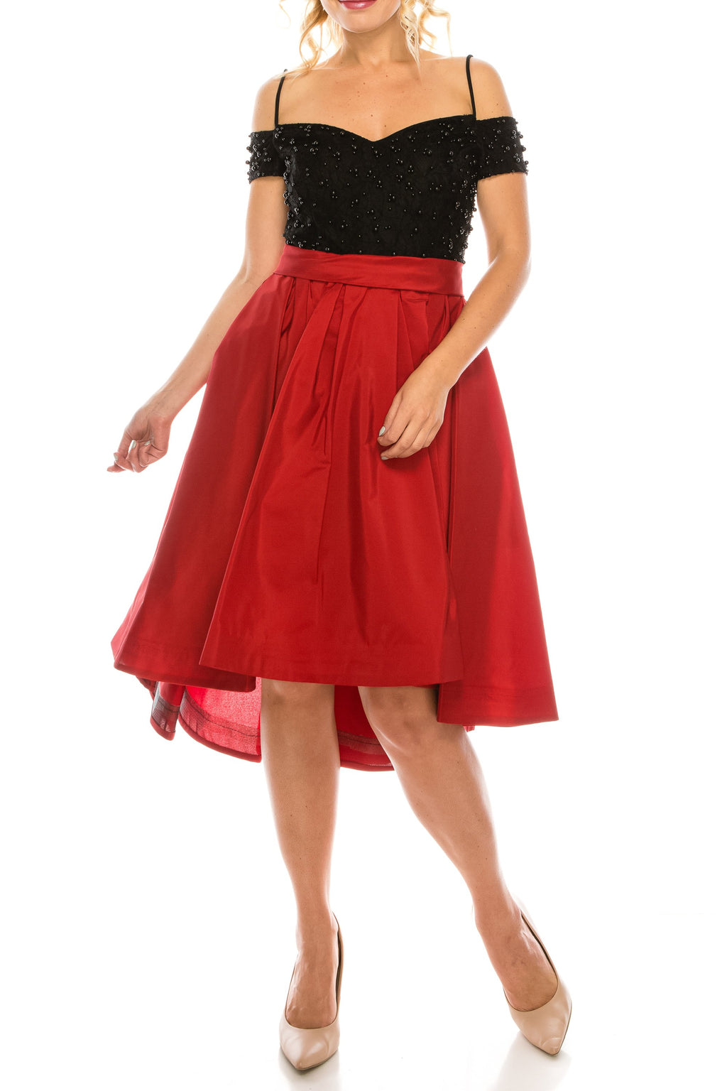 Odrella Red Cold Shoulder Circle Skirt Party Dress