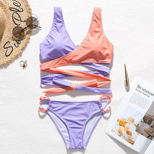 Peachtan Bandage bikini set Patchwork push up swimsuit female Hollow out swimwear women Lace up bikini Bathers bathing suit new