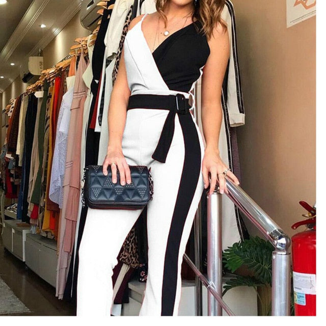 Women Jumpsuit Patchwork Black White V Neck Spaghetti Strap with Waist Belt Pink Blue Female Sexy Playsuit Rompers New Fashion