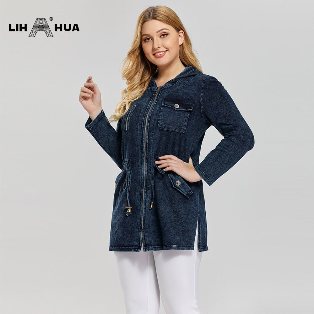 LIH HUA Women's Plus Size Casual Long Style Denim Jacket Premium Stretch Knitted Denim with shoulder pads and hat