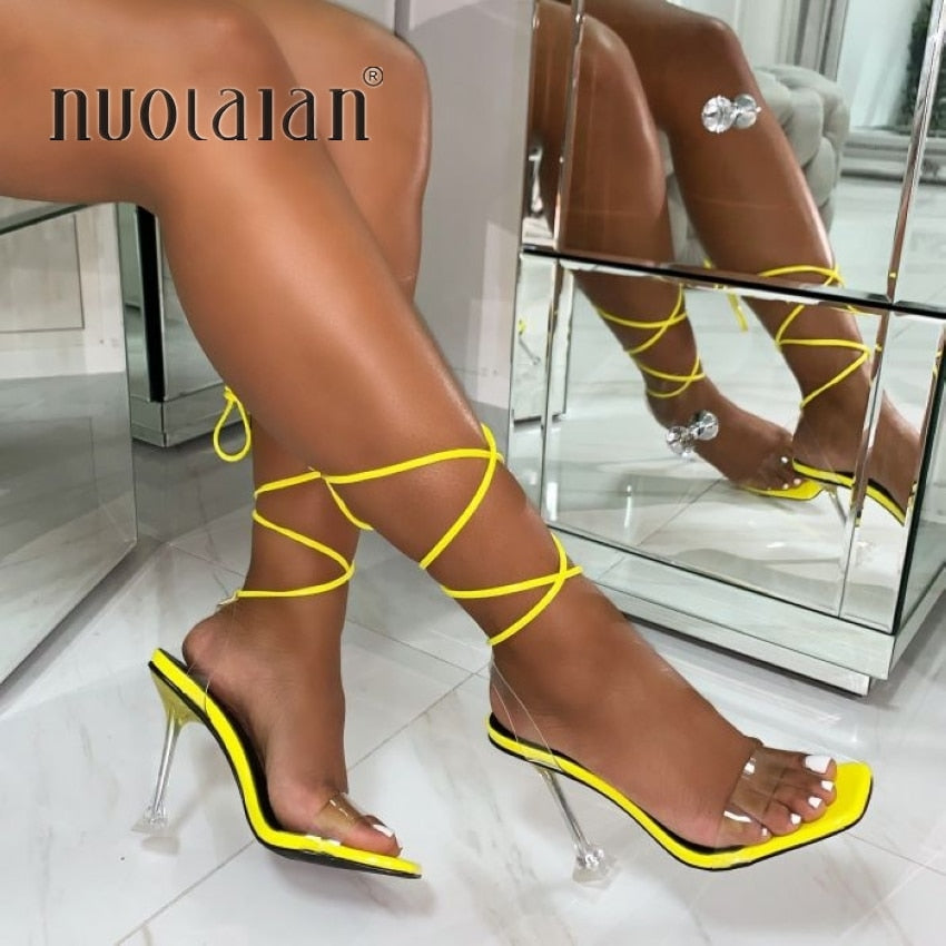 Summer High 10.5CM Heels Women Pumps Ankle Cross Strap Sandals Shoes Woman Ladies Peep Toe High Heels Dress Party Shoes Woman