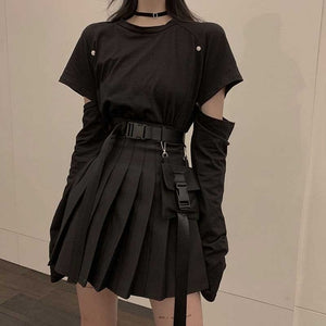 NiceMix black set A-line Women Sexy Mini High Waist Skirt Streetwear Women Punk Style Side Pocket Fashion Design Pleated Skirt