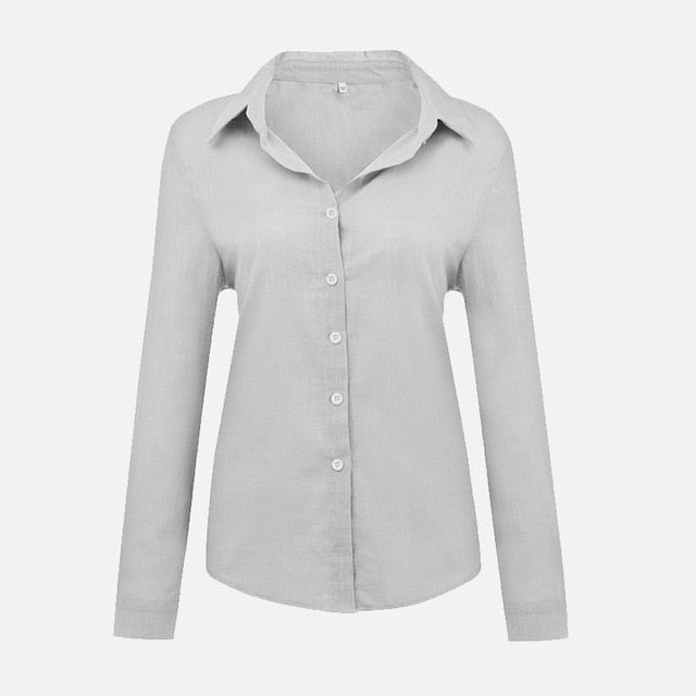 Plus Size V-Neck Women's Office Ladies Shirt Long Sleeve Solid 2020 Spring Summer Leisure Shirts Button Cardigan Loose Tops