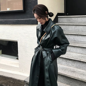 WSYORE Cool PU Leather Long Jacket 2020 New Spring Women Loose Belt PU Leather Windbreaker Trench Coat Slim Autumn Jacket NS939a