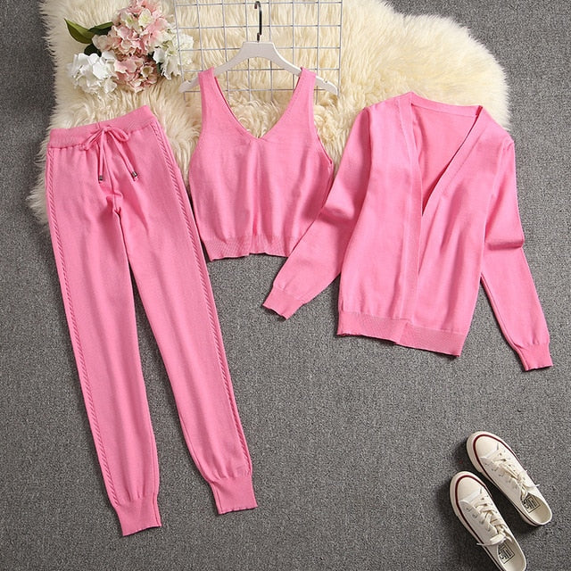 ALPHALMODA 2020 Spring Candy Color Knitted Cardigans + Camisole + Pants 3pcs Fashion Suit Women Seasonal Stylish Clothes Set