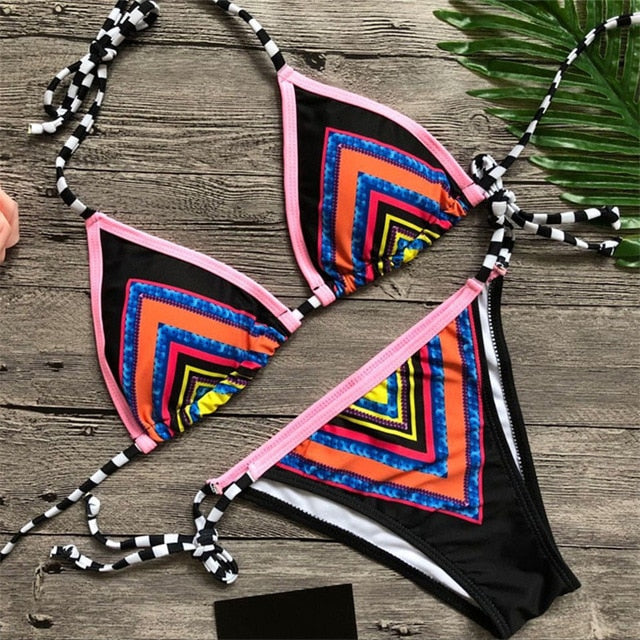2018 New Bling Sequins Bikini Set Brazilian Halter Striped Bathing Suits Women Sexy Swimsuit Swimwear Bandage Padded Bikini