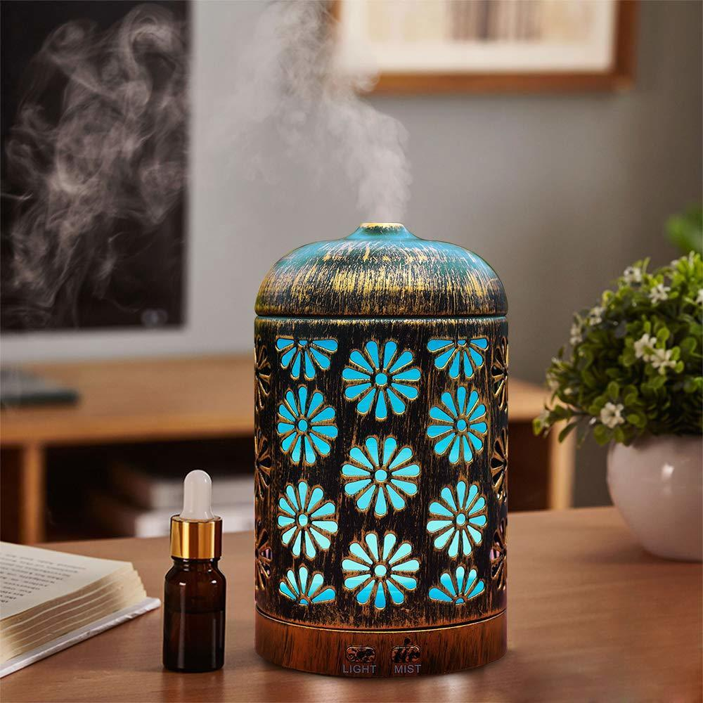 Vintage Metal Quiet Aromatherapy Humidifier,Ultrasonic Essential Oil