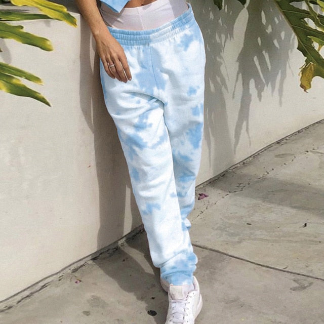 Women Tie Dye Sports Tracksuit Two Pieces Sets Sleeveless Vest Summer Tank Tops + Jogging Athletics Pants Drawstring Trouser