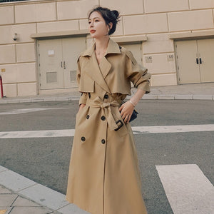 Brand New Spring Autumn Long Women Trench Coat Double Breasted Belted Storm Flaps Khaki Dress Loose Coat Lady Outerwear Fashion