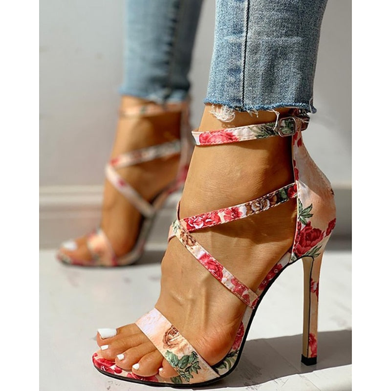 SHY New Women summer Thin High Heels embroidered Peep Toe gladiator pumps office sandals party shoes