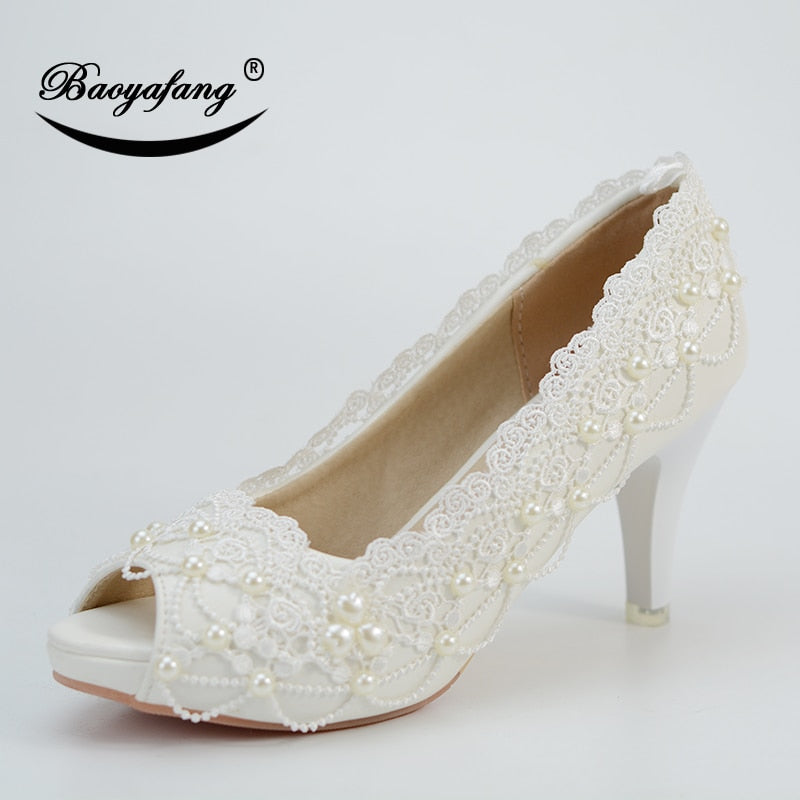 BaoYaFang Women's Summer Shoes Woman 8cm Thin heel Peep Toe Wedding shoes Bride Open Toe Ladies White Lace Pumps party shoes