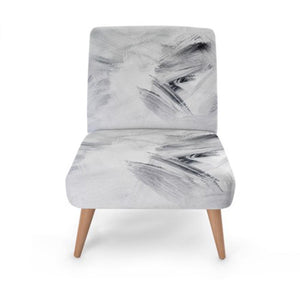 White Abstract Print Accent Occasional Chair