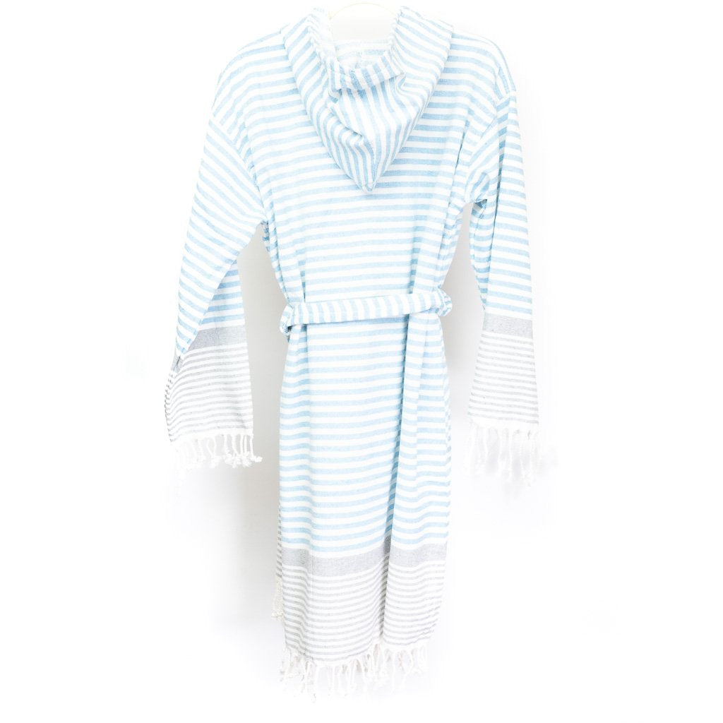 Blue 100% Cotton Peshtemal Ultra Soft Robe
