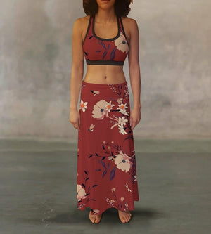 Red Vintage Flowers Maxi Skirt