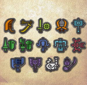 Capcom Monster Hunter World Weapon Icon Rubber Badge Collection 14 Pack