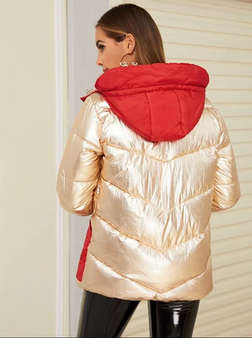 Metallic Contrast Panel Hooded Puffer Coat