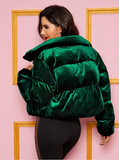 SHEIN Zipper Front Velvet Padded Jacket