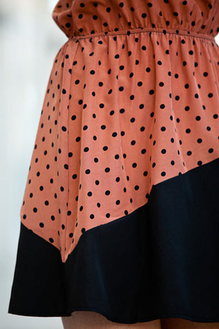 Polka Dot and Black Cut Out Dress