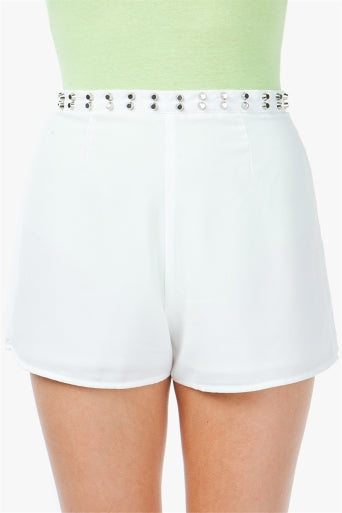 Studded Hi-Waisted Shorts