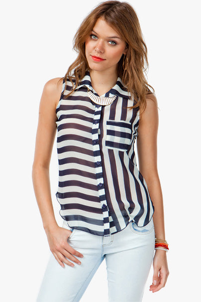 Stripe Horizontal Vertical Black White Button Down Sleeveless Shirt