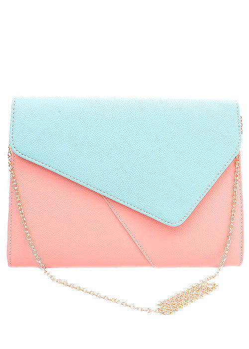 Mint Green and Coral Color-Block Envelope Clutch
