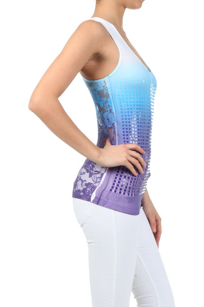 Sequin Ombre Print Lace Racerback Tank Top