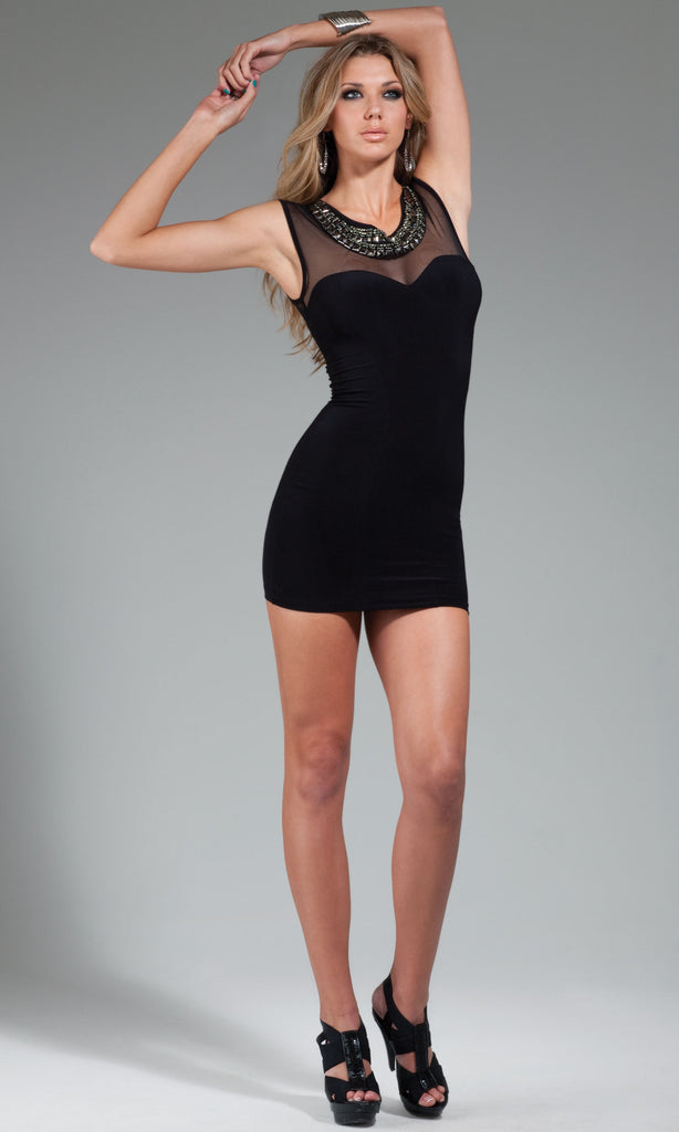 Beaded Mesh Sleeveless Mini Dress