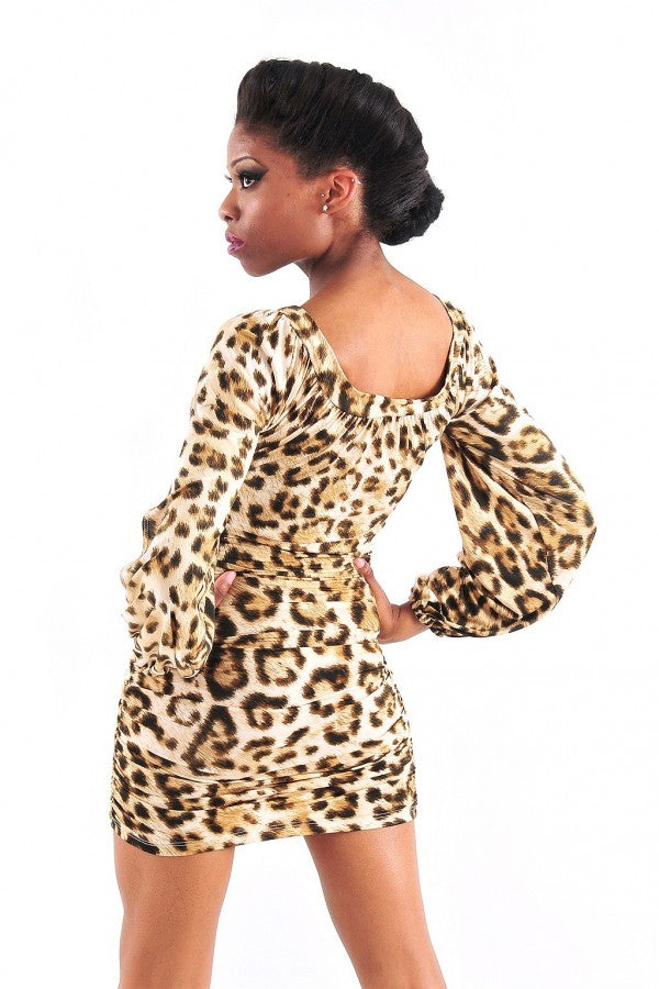 Leopard Open Sleeve Dress
