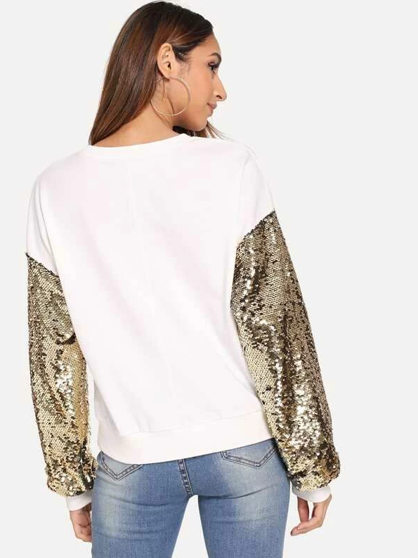 SHEIN Sequin Contrast Eye Print Pullover