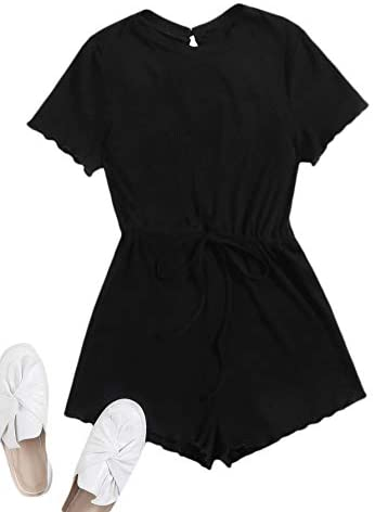 Women's Short Sleeve Round Neck Frill Jumpsuit Rib-Knit Tie Waist Romper
