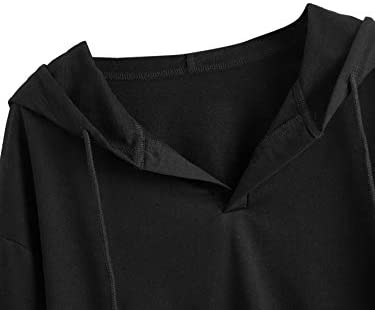 Women's Casual Long Sleeve Hoodies Pullover V Neck Crop Sweatshirt Black