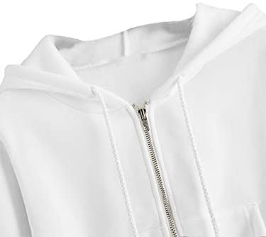 Women's Crop Zip Up Pocket Drawstring Basic Zipper Hooded Sweatshirt