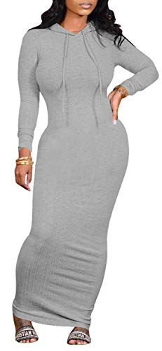 Women's Maxi Dress Sexy Bodycon Long Sleeve Pullover Hoodie Casual Slim Sweatshirt Gray