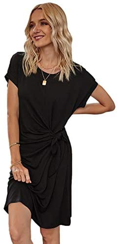 Women's Twist Dress V Neck Cut Out T Shirt Dress Short Sleeve Mini Midi Dresses