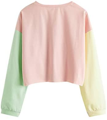 Women's Casual Colorblock Crew Neck Long Sleeve Crop Pullover Sweatshirts Tops